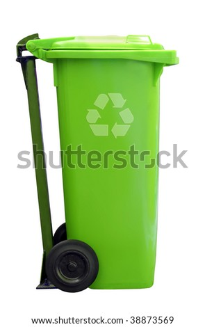 green recycle garbage can isolated on white background - stock photo