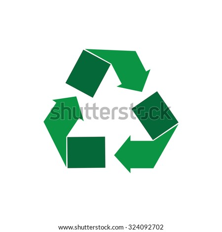 Green recycle sign raster isolated icon. Recycle symbol - stock photo