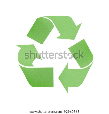 Green recycle sign recycled paper on white background
