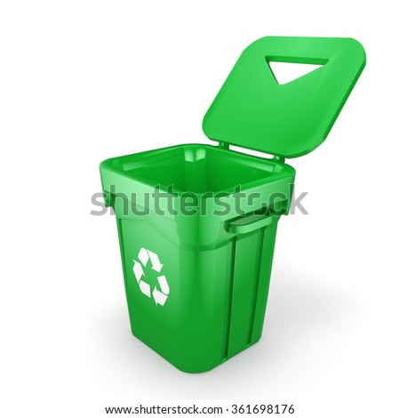 Green recycling bin isolated on white background