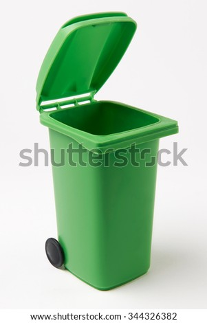 Green Recycling Bin On White Background