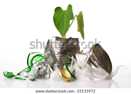 Green recycling concept plant growing out of rubbish on white reflective background - stock photo