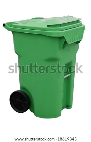 green recycling container with clipping path - stock photo