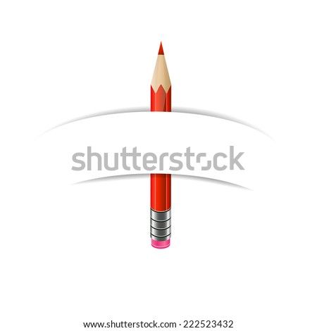Green, red and blue  pencils and paper banner on white background - stock photo