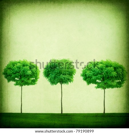 Green Retro  Background.Growing Trees - stock photo