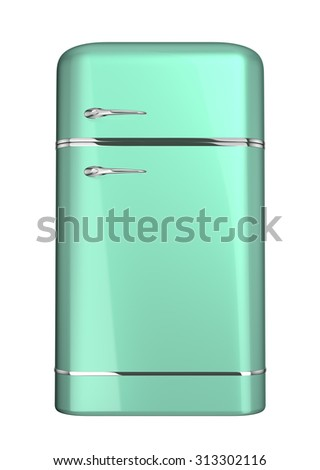 Green retro fridge, isolated on white, 3d illustration - stock photo