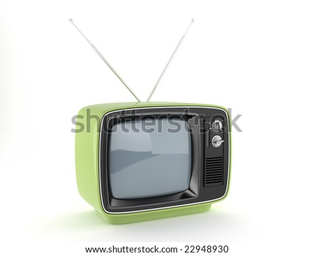Green retro TV on white background with clipping path ready for exact isolation