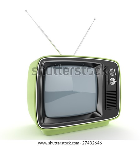 Green retro TV perspective isolated on white with clipping path for easy isolation from the background