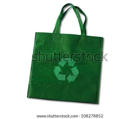 Green, reusable shopping bag - stock photo