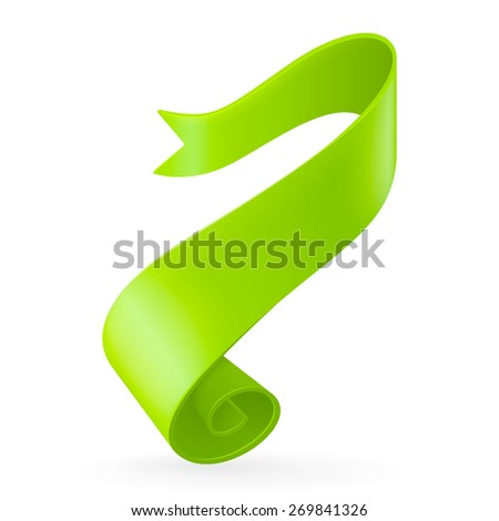 Green ribbon. Abstract scroll paper vector background. Design element. Ribbon banner. Isolated on a white background. - stock photo