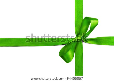 Green ribbon and bow isolated on white background - stock photo