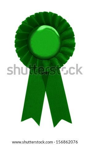 green ribbon award isolated on white background - stock photo