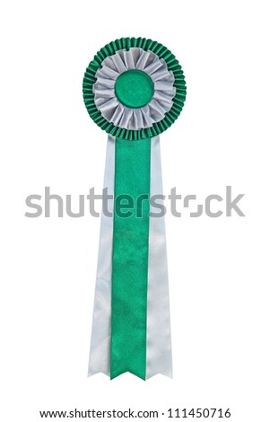 Green ribbon award. Rosette of green and silver satin fabric with a ribbon tail  isolated on white - stock photo