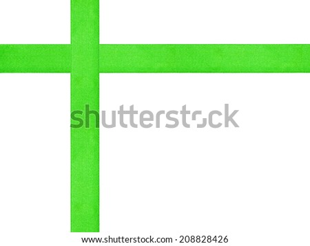 green ribbon cross template isolated, just put bow on it - stock photo
