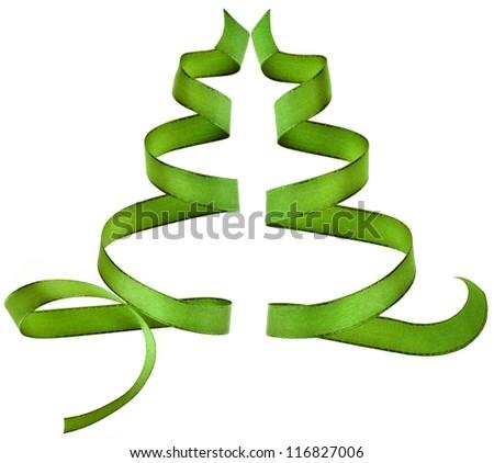 green ribbon  isolated on white - stock photo