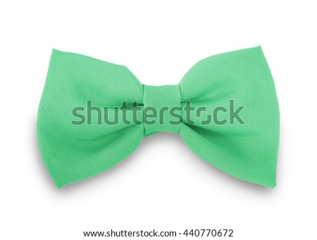 Green ribbon knot isolated on white background. This has clipping path.                                - stock photo