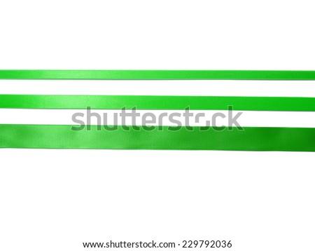 Green Ribbon Set isolated on White Background - stock photo