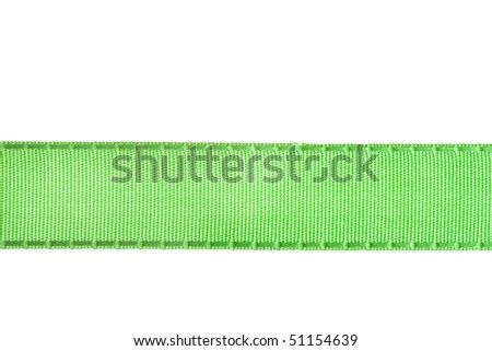 green ribbon tape  isolated on white background - stock photo