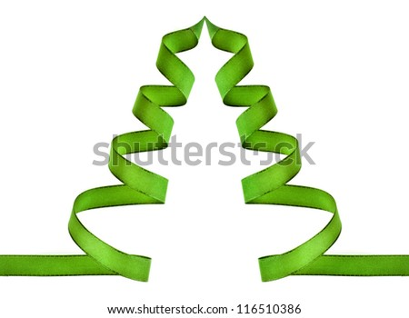 green ribbon tree with copy space isolated on white - stock photo
