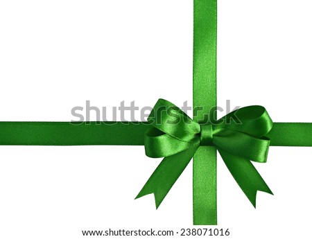 Green ribbon with bow isolated on white background - stock photo