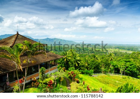 Green rice terraces. Bali, Indonesia. - stock photo