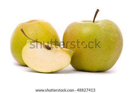 Green ripe apple isolated on white background