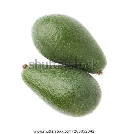 Green ripe avocado fruits composition isolated over the white background - stock photo