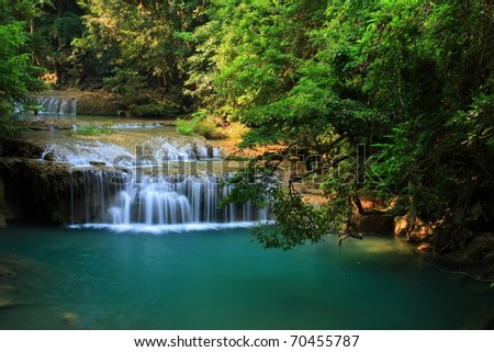 green river in green forest, Thailand. - stock photo