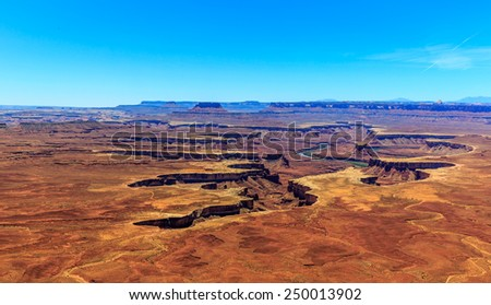 Green River in Green River Basin, viewed from the overlook in Canyonlands National Park - stock photo