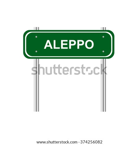 Green road sign Aleppo