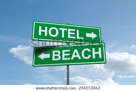 Green road sign of Beach and Hotel directions arrow on sky background - stock photo
