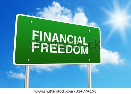 Green road sign with text Financial Freedom is in front of the blue sunny background. - stock photo