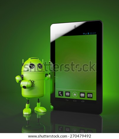 Green Robot with tablet pc. 3d illustration - stock photo