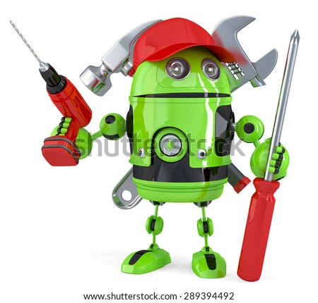 Green robot with tools. Technology concept. Isolated over white. Contains clipping path - stock photo