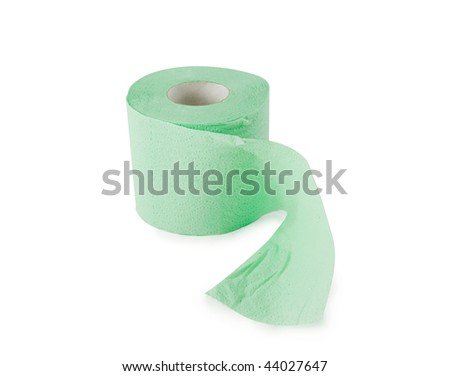 Green roll of toilet paper isolated on white - stock photo