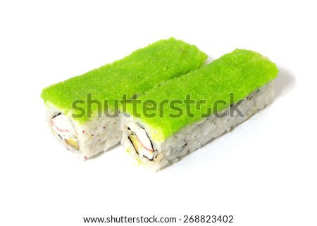 green roll with crab and avocado isolated over white - stock photo