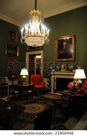 Green Room of the White House in Washington DC - stock photo