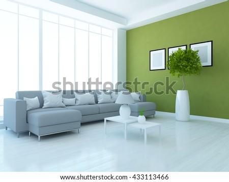 Green room with grey sofa. Living room interior. Scandinavian interior. 3d illustrtation - stock photo