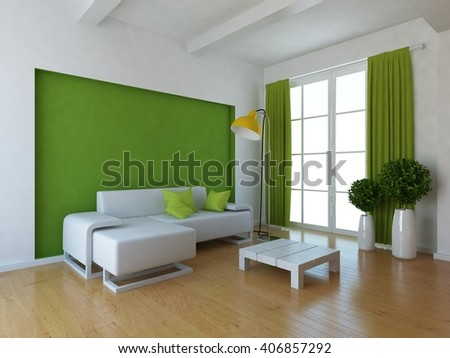 Green room with sofa. 3d illustration