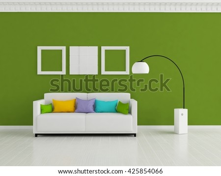 Green room with sofa. Living room interior. Scandinavian interior. 3d illustration - stock photo