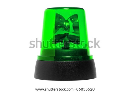 green rotating beacon - stock photo