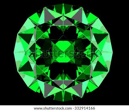 Green round cut emerald - stock photo