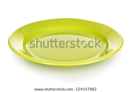 green round plate or dishes isolated on white with clipping path included - stock photo