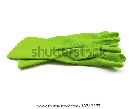 Green rubber gloves isolated on a white background - stock photo