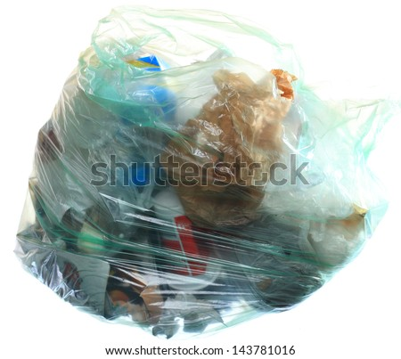 Green rubbish bag with mixed trash garbage isolated on white background - stock photo