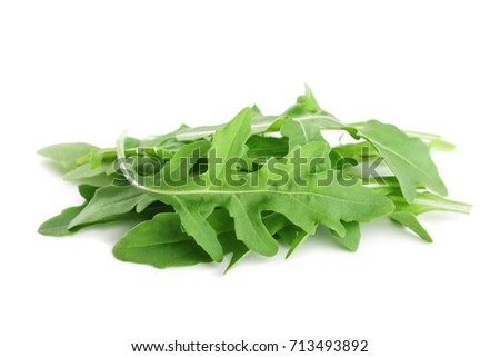 Green Rucola Rocket Salad Or Arugula Isolated On White Background