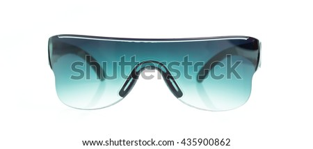 green safety glasses isolated on the white background - stock photo