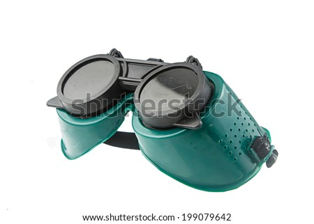 Green safety goggle  isolated on white background