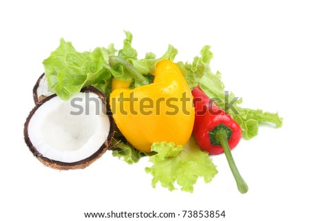 Green salad and sweet paprica isolated on white - stock photo