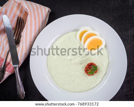 green sauce with eggs